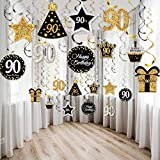30 Piezas Remolinos Colgantes Brillante de Celebración de Cumpleaños 90, Decoraciones de...