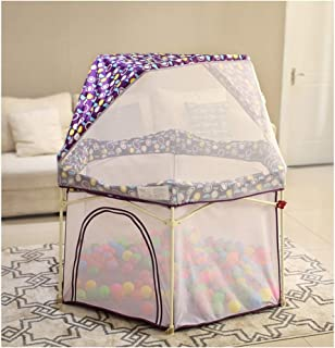 Baby Playards outdoor Fold With Door And Tent Safety Fence Washable Strong Durable Playpens For Beach Backyard Park Travel Camping Room Baby Products  Color Purple