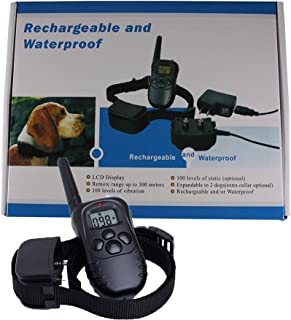 Remote Controlled Dog Training Collar Rechargeable Water Resistant All Dog Sizes 10 - 100 Pounds 100 Intensity Level with Vibration Beep Shock and Pager by Dog Train