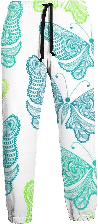 Men's Jogger Sweatpants Blue Green Butterflies 3D Loose Joggers Pants with Drawstring Long Pants