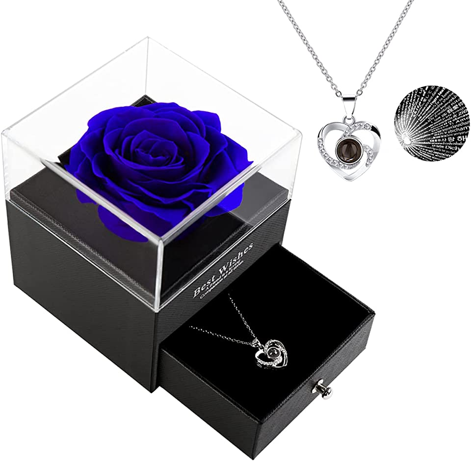 Gifts for Mom Preserved Real Rose with 100 Language I Love You Sterling Silver Mom Necklace Mothers Day/Birthday Gifts for Mom/ Mothers Day Gifts From Daughter(Blue)