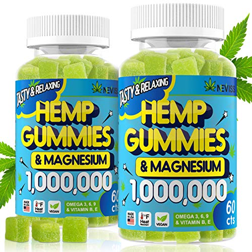 (2 Pack) Hemp Gummiés 1,000,000 with Magnesium, Hemp Gummiés for Pain and Anxiety Relief, Stress & Inflammation Relief, Sleep, Calm & Mood Support, Vegan Organic Hemp Magnesium Gummiés - Made in USA