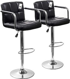 comprar comparacion Display4top Taburetes de Bar, con Estructura cromada, sillas giratorias de 360 Grados, Acolchadas Blandas, Juego de 2 (Neg...