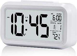 Digital Alarm Clock, Battery Operated Alarm Clock, with Smart Night Light   Snooze   Date   12/24H   Indoor Temperature, 4.3