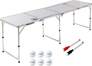 8 Foot Beer Pong Table (DRY ERASE, CHALKBOARD, or WOOD GRAIN) by Rally and Roar - Portable Party Drinking Games - Official...