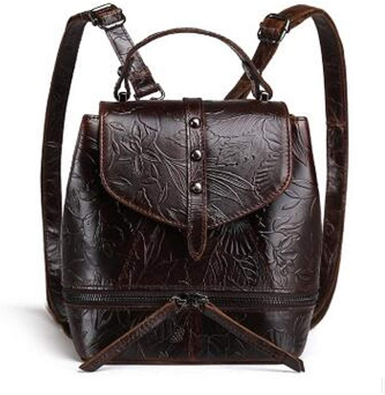 Women Genuine Leather Backpacks Female Embossed Flower Vintage National Travel Bags School Bag