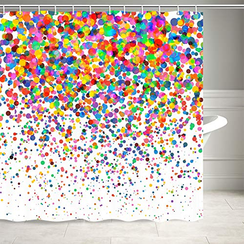 NYMB Colorful Confetti Falling Shower Curtain, Wedding Festival Party Decor Bath Curtains, Fabric Bathroom Decorations Shower Curtains 12PCS Hooks Included, 69X70 Inches
