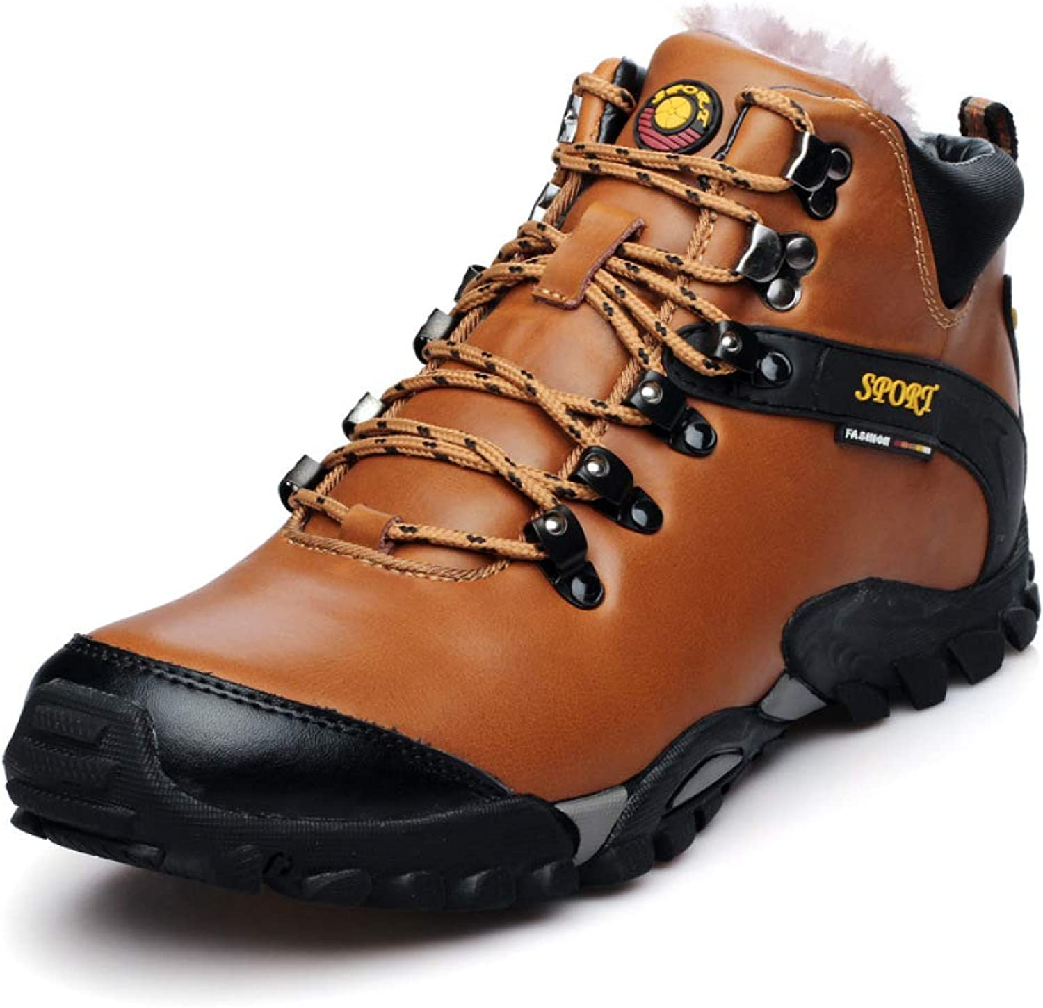 Men's Autumn and Winter Boots,Cowhide Non-Slip Soles Outdoor Hiking shoes