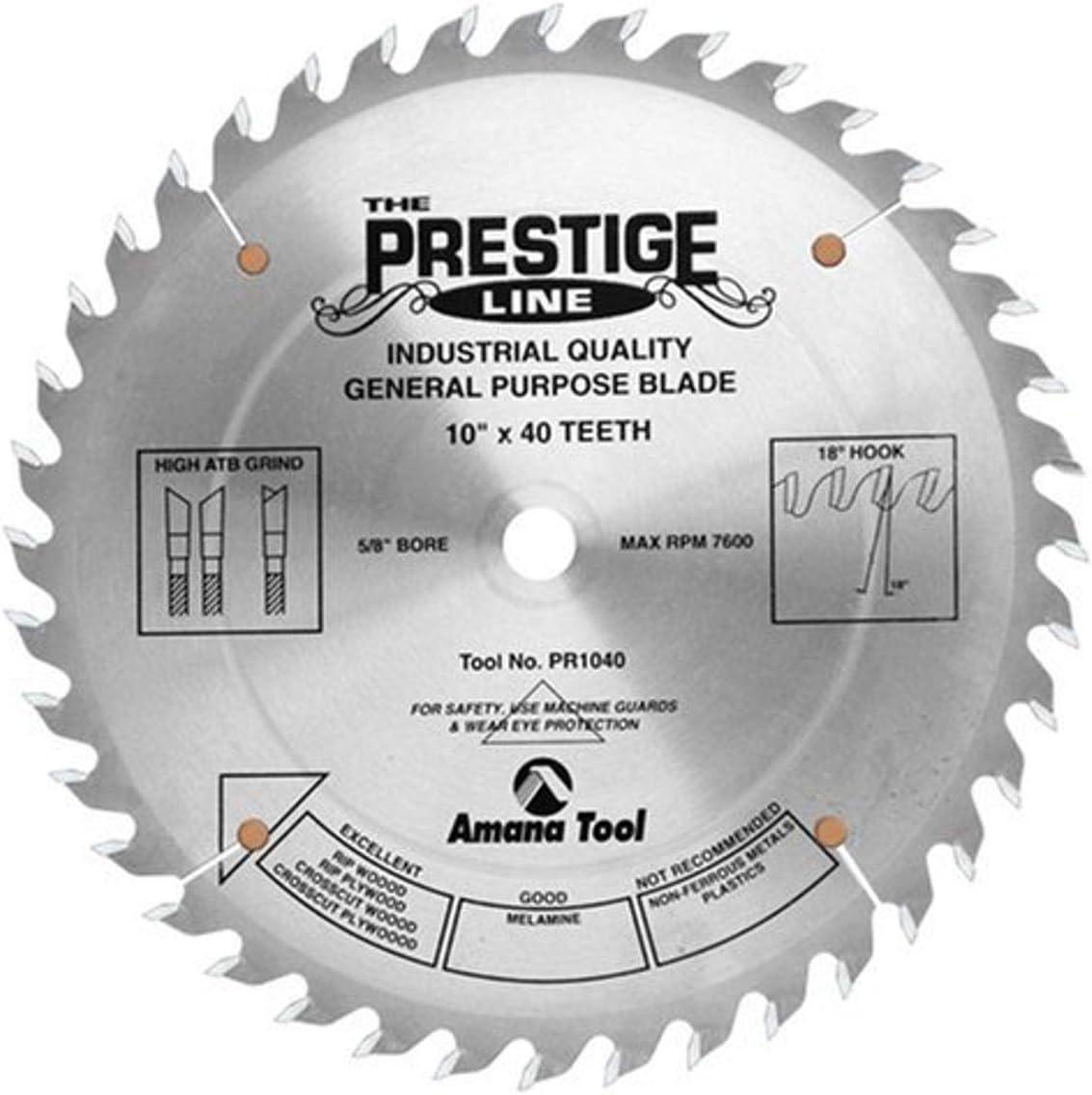 "Amana Tool - PR1040 Carbide Tipped Prestige General Purpose 10"" Dia 40T ATB, 18 Deg, 5"