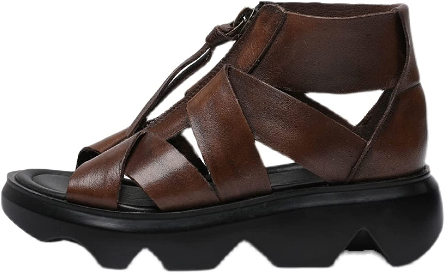 Women's Trendy Outdoor Vintage Hollow Out Breathable Durable Strappy Cozy Soft Leather Roman PlatformWedge Sandals