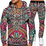 XiaoHeJD Primavera otoño Hombre con Capucha Deportes Traje Masculino Manga Larga Pantalones Casuales Conjuntos de 2 Piezas con patrón de Amor en 3D Traje de suéter Impreso