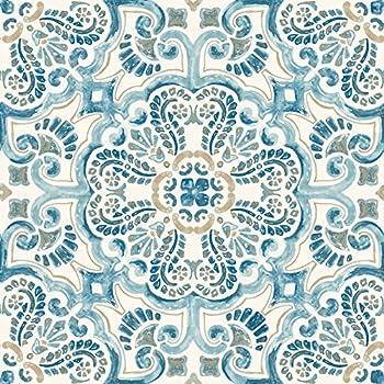FloorPops FP2477 Fontaine Peel & Stick Tiles Floor Decal Blue 10 Sq Ft