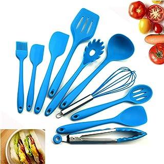 Utensilios de cocina de cocción de silicona no tóxicas resistentes al calor antiadherente Olla de panadería Juego de cocina Utensilios de cocina Herramientas 10pcs (Azul)