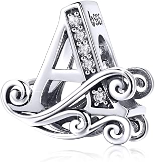 925 Sterling Silver Initial Letter A-Z Charms for Snake Chain Bracelet Necklace Alphabet Beads