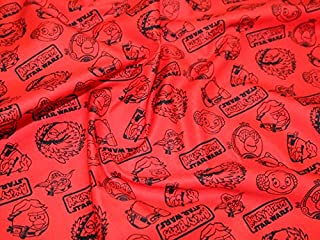 Camelot Fabrics Angry Birds Star Wars Outlines Quilting Fabric Red - per fat quarter