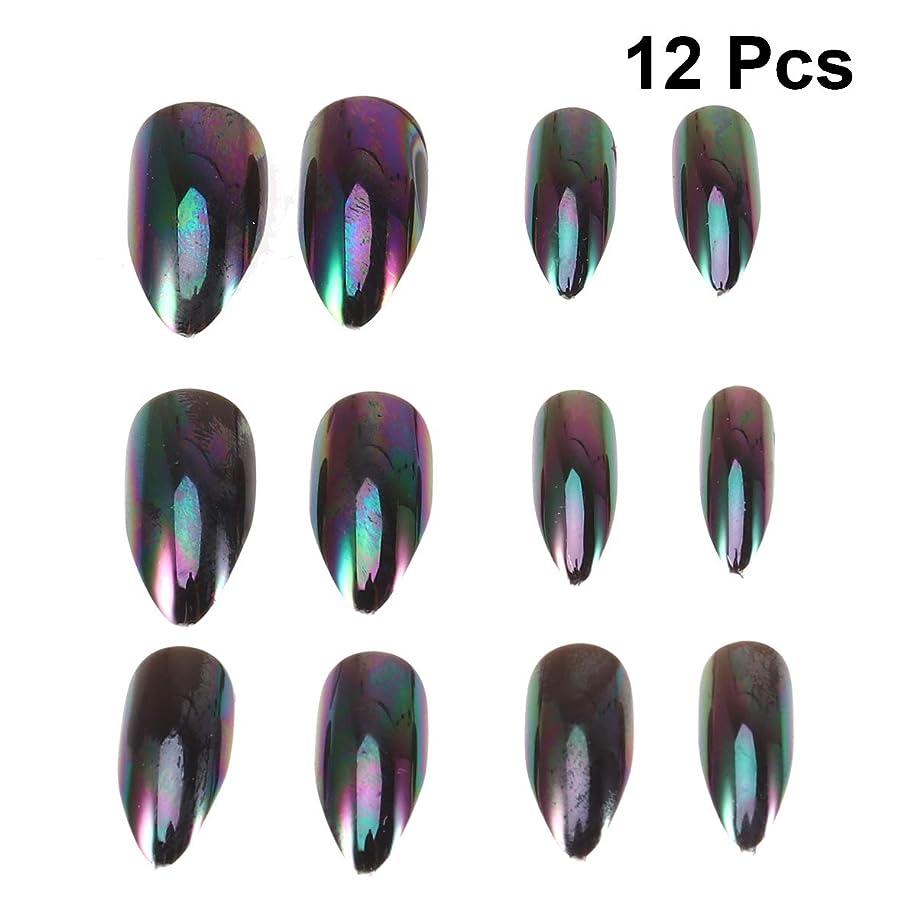 タールジャンク真似るLurrose 女性の女性のための12本の人工的な金属ミラー効果偽ネイルセットマジックミラー反射偽ネイル(番号5パターン)
