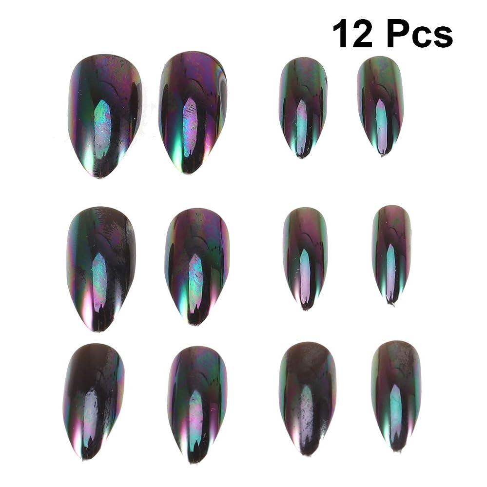 陽気な剛性手がかりLurrose 女性の女性のための12本の人工的な金属ミラー効果偽ネイルセットマジックミラー反射偽ネイル(番号5パターン)