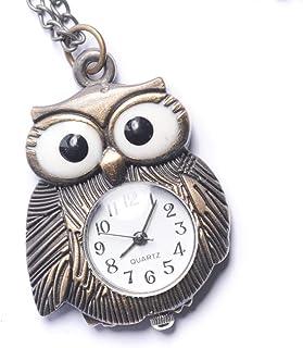 Collar Colgante Reloj de Bolsillo Analógico Cuarzo Estilo Vintage Búho Mujer Latón, 78 cm