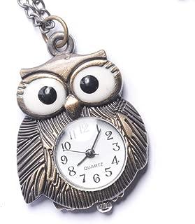 Women's Analogue Quartz Vintage Style Night Owl Pocket Watch Brass Pendant Necklace, 78 cm