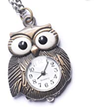 81stgeneration Women's Analogue Quartz Vintage Style Night Owl Pocket Watch Brass Pendant Necklace, 78 cm
