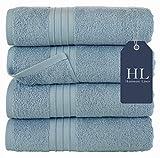 Best Bath Towels - Hammam Linen Bath Towels Set, Light Blue- Luxurious Review