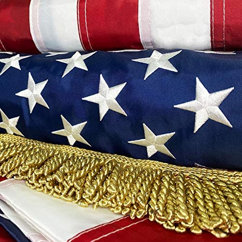 American Flag with Luxurious Golden Fringe United Flags USA US Flag Deluxe Embroidered Stars product image