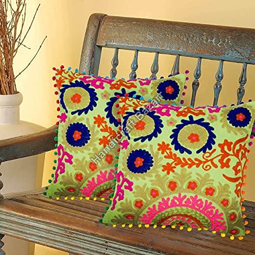 Handicraft Bazarr Funda de almohada bordada, estilo vintage, 2 piezas, juego de fundas de almohada de algodón Suzani, funda de cojín de viaje vintage, funda de cojín floral (verde-3)