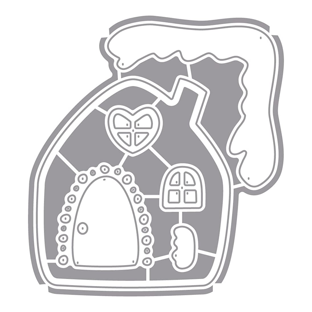 Rayher Gingerbread House Punching Stencil Set, Grey, 6-Piece
