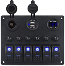 WATERWICH Marine Boat Car 8 Gang ON-Off Ignition 3 Pin Waterproof Toggle Rocker Switch Panel 12V/24V Circuit Breaker Blue LED Indicator for RV Yacht ATV (6 Gang Blue)