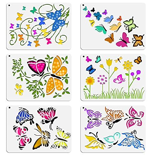 OOTSR 6 Piezas Plantillas de Mariposas Flor Plantillas para Pintar Paredes Plantillas Stencil Manualidades Plantillas para Pintar Reutilizables Plantilla de Dibujo para Pintura Scrapbooking