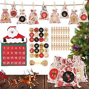 WJLING Calendario de Adviento, 24 pcs Bolsa de Regalo Navidad, DIY Calendario Adviento Navidad para Rellenar, Cuenta Atrás para Navidad Decoración