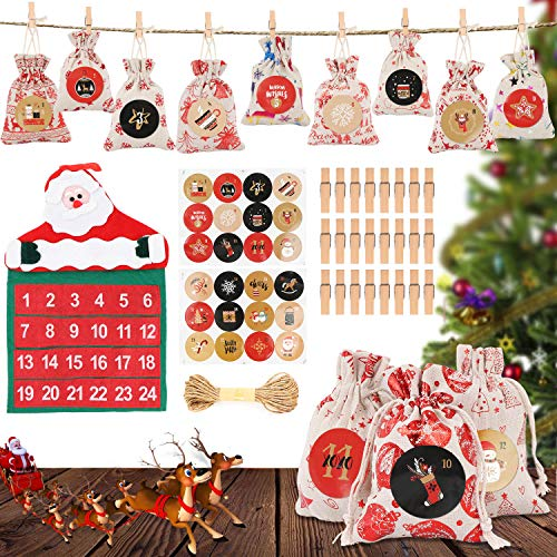 WJLING Calendario Dell'avvento, 24 Pezzi Sacchetti Calendario Avvento da Riempire, Natale Regalo Juta Sacchetti per Decorazioni Natalizie