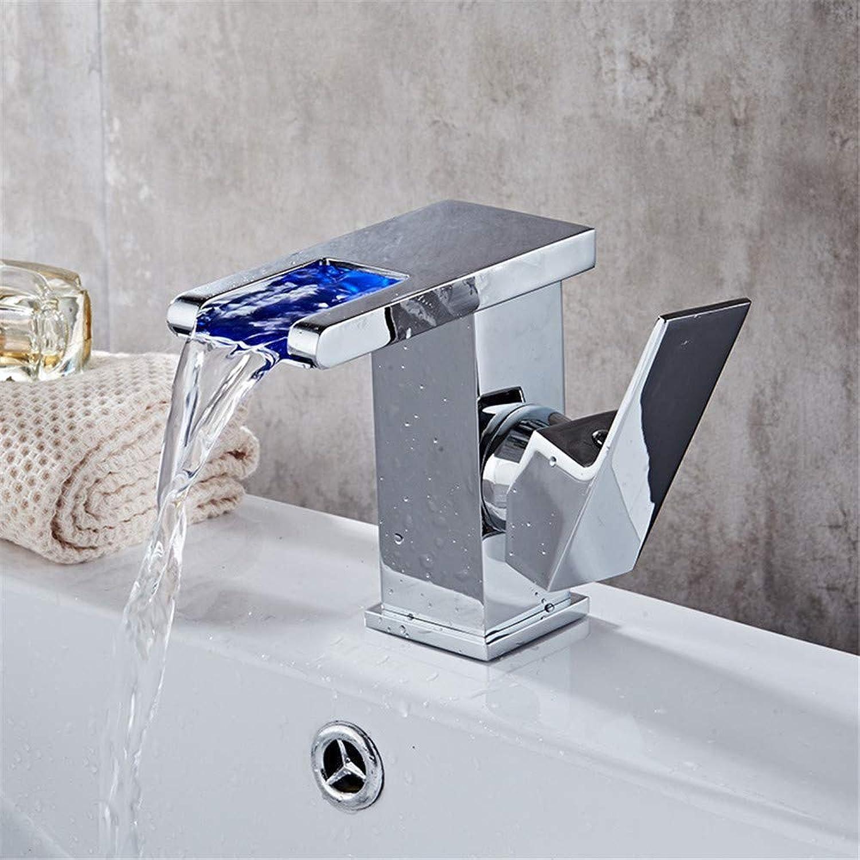 Oudan Led Copper Basin Faucet Bathroom Toilet Faucet Cold Tap Hole (color   -, Size   -)