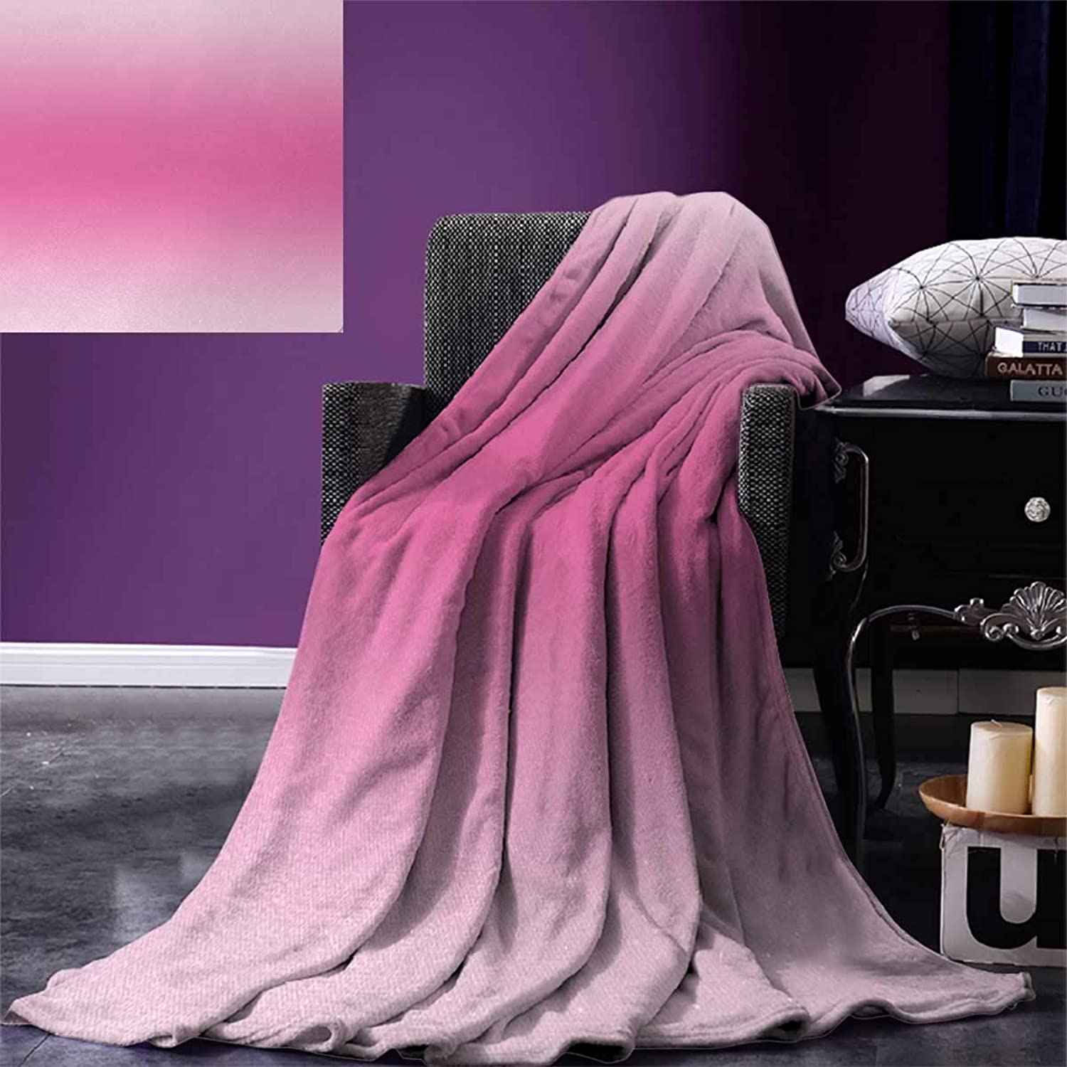 Anniutwo Ombre Travel Throw Blanket Medieval Fairytale Style Cotton Candy Inspired Girly Design Digital Modern Artwork Print Velvet Plush Throw Blanket 60 x50  Pink