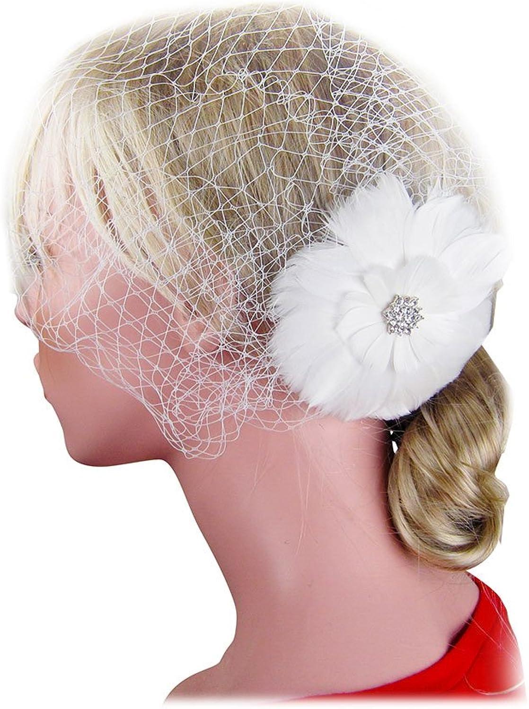 SACASUSA Feather Fascinator Rhinestones Crystals French Net Cocktail Headwear Hair Clip