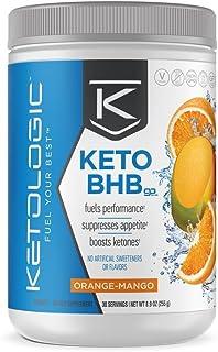 KetoLogic Keto BHB Exogenous Ketones Powder Supplement: Orange Mango (30 Servings) - Boosts Ketosis, Increases Energy & Focus, Suppresses Appetite – Supports Keto Diet & Weight Management
