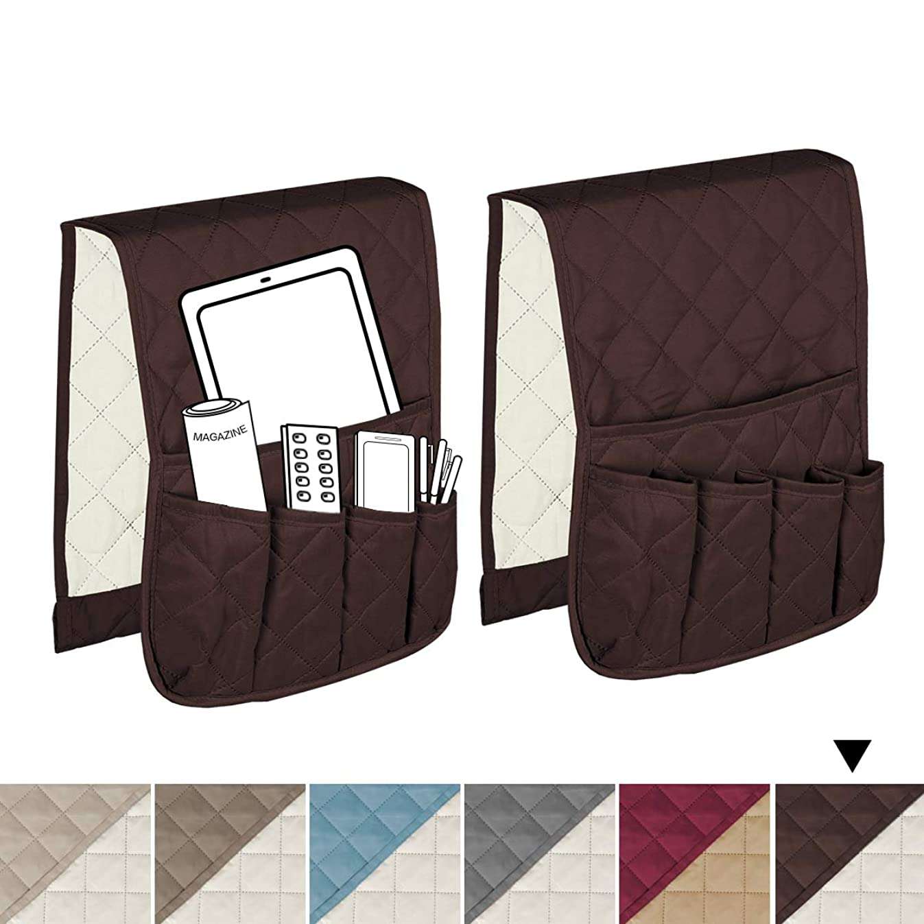 H.VERSAILTEX 5 Pockets Space Saver Organizer with Anti-Sliding Pipe, Remote Control Holder, Magazine Rack, Draped Over Sofa, Couch, Recliner Armrest (Brown/Beige) - 2 Packs