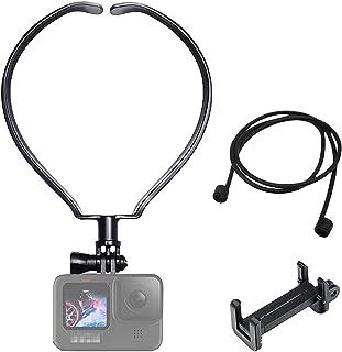 GoPro ゴープロ 用 アクセサリーネックレス式マウント gopro マウント GoPro HERO9 MAX HERO8/7/6/5 Osmo Action対応 サイズ調整 落下防止 スマホ ゴープロ用 アクションカメラ 釣り 自転車…