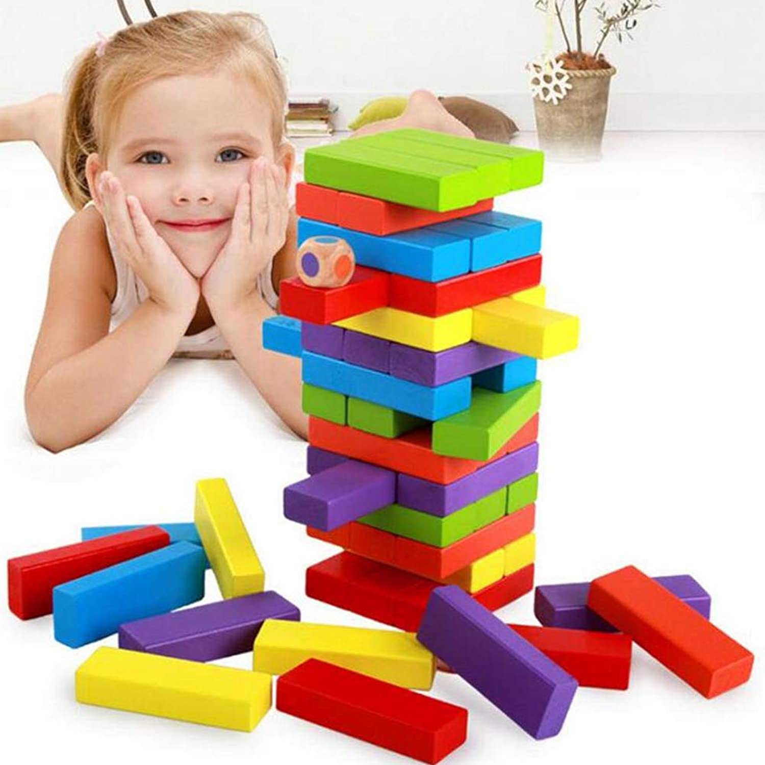 51pcs colorful Wooden Building Blocks Stacking Height, Kids Game Educational Play Toy,
