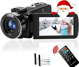 Camcorder Video Camera Full HD 2.7K 42MP YouTube Camera 18X Digital Zoom Fill Light Pause Function with 3.0''LCD and 270°R...