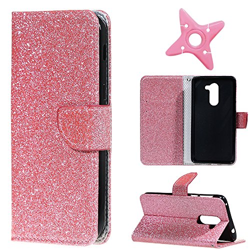 MAOOY Huawei Honor 6X Lederhülle, Kreative Flash Bling Glitter Entwurf Wallet Hülle für Huawei GR5 2017, Bookstyle Cover mit Standfunktion und Karten Slot und Magnetische für Huawei Honor 6X, Rosa