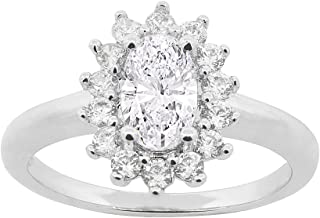 Cate & Chloe Sage 18k White Gold Halo Engagement Ring, Twilight Sparkle Round Cut Simulated Diamond CZ Ring, Classic Sparkling Halo Cluster Promise Ring, Fashion Statement Jewelry