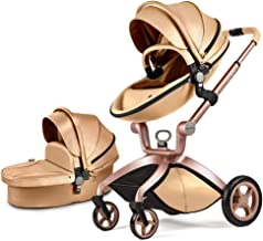 Best Baby Stroller in 2020,Hot Mom Baby Carriage with Adjustable Seat Height Angle and Four-Wheel Shock Absorption,Reversible,High Landscape and Fashional Pram,Gold Review