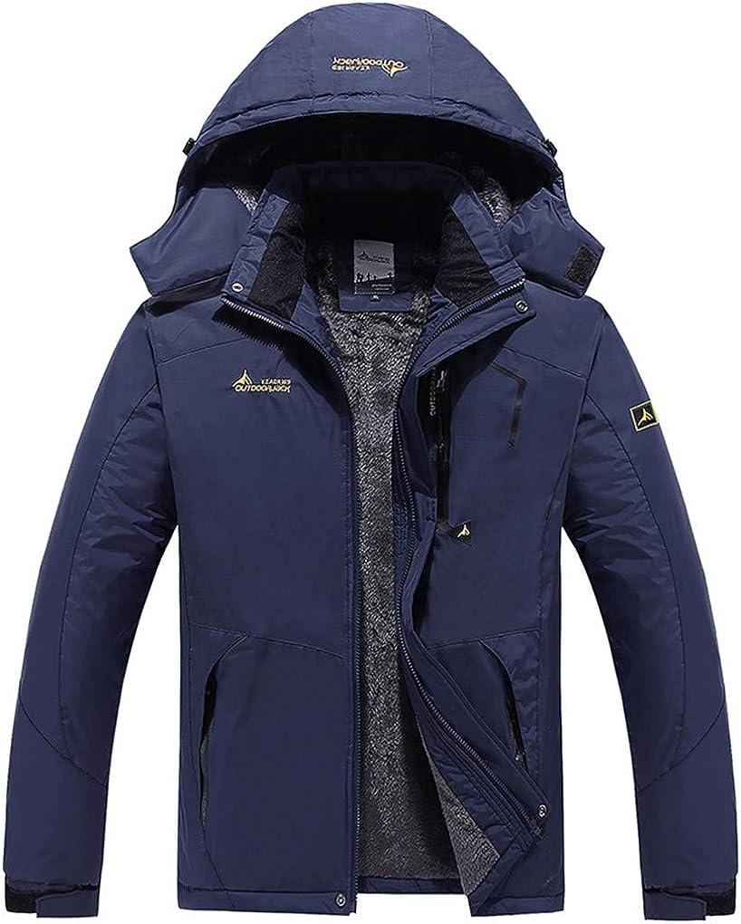 Shanghai Story Men's Waterproof Ski Jacket Fleece Windproof Mountain Coat with Hooded