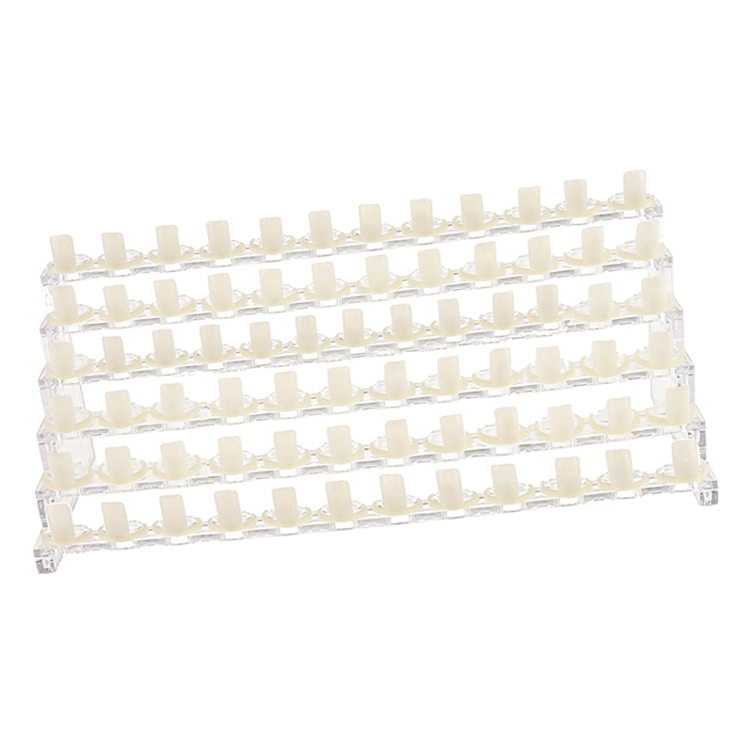 構想する離婚大邸宅Perfk 6段 プラスチック製 ネイルアート ディスプレイ スタンド ラック ホルダー 72個 爪 先端 リング マニキュアサロン用