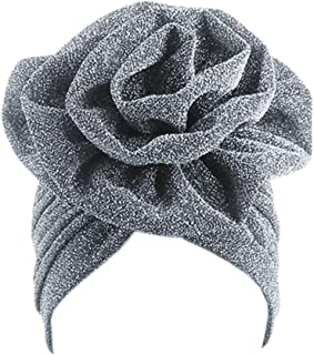 Surkat Shiny Flower Turban Shimmer Chemo Cap Hairwrap Headwear Beanie Hair Scarf