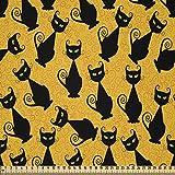 ABAKUHAUS Halloween Stoff als Meterware, Schwarze Katze