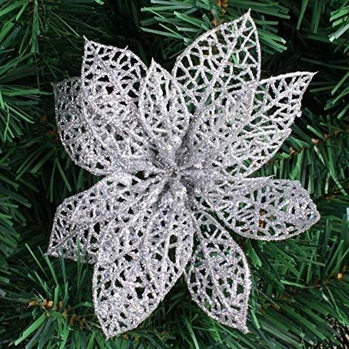 WHANG 10 PCS 15cm Simulation Hohle Künstliche Blumen-Kinder-Geburtstags-Party-Dekoration des neuen Jahres Weihnachtsdekor (rot). (Color : Silver)
