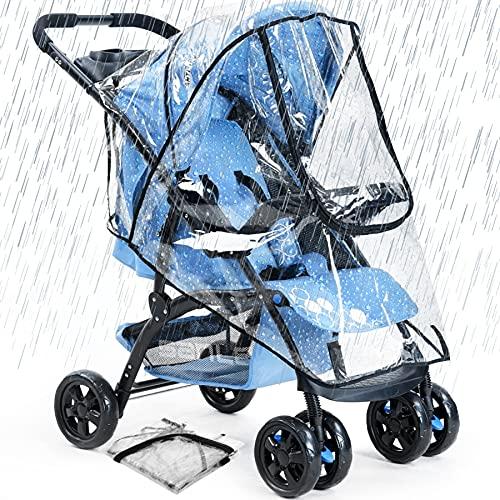 O³ Habillage Pluie poussette universelle-Protection Pluie Étanche et Durable-Protege de la pluie et du vent-2 Crochets Poussette Offerts
