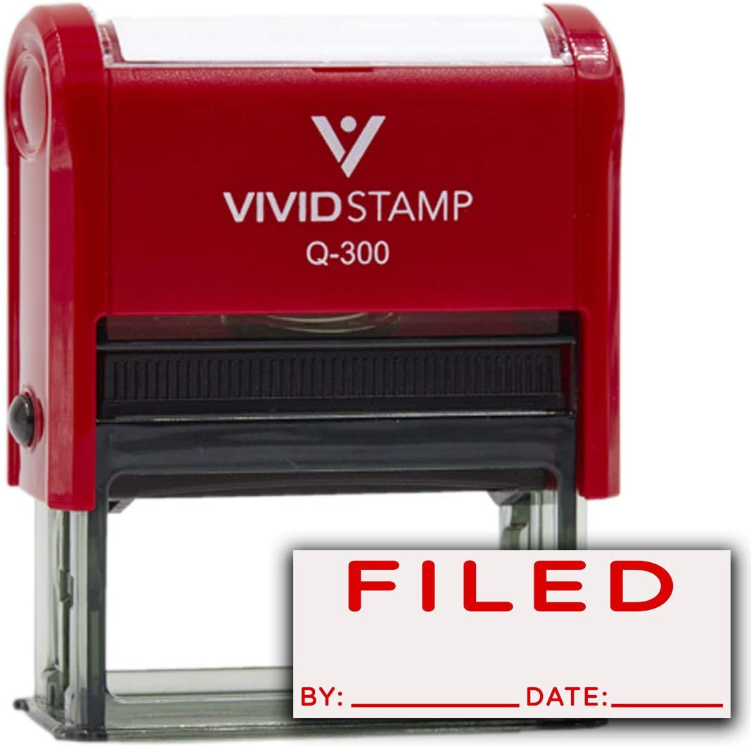 Red Ink FILED By Date Self Inking Rubber Stamp Large